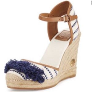 Tory Burch Navy Fringe Wedges
